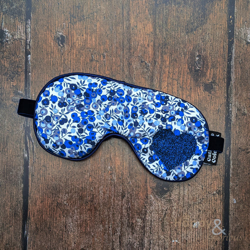 Lavender filled Liberty fabric eye mask with blue glitter heart