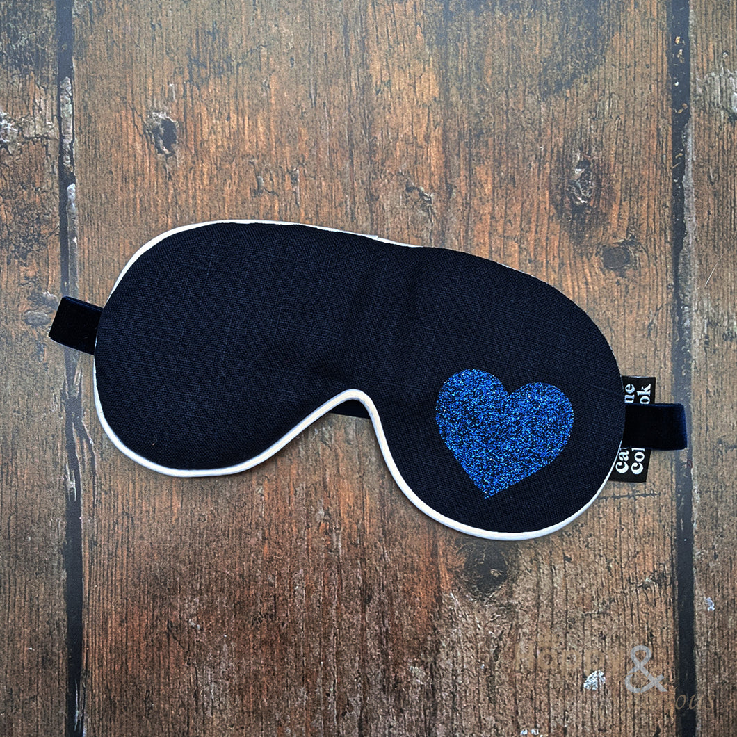 Lavender filled linen fabric eye mask with blue glitter heart