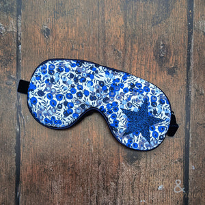Lavender filled Liberty fabric eye mask with blue glitter star