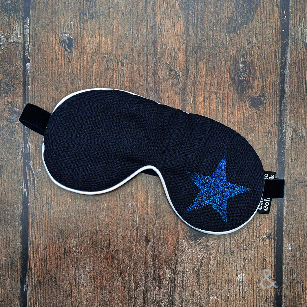 Lavender filled linen fabric eye mask with blue glitter star