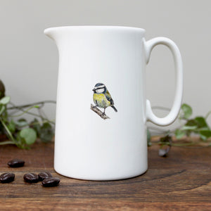 Bluetit half pint china jug