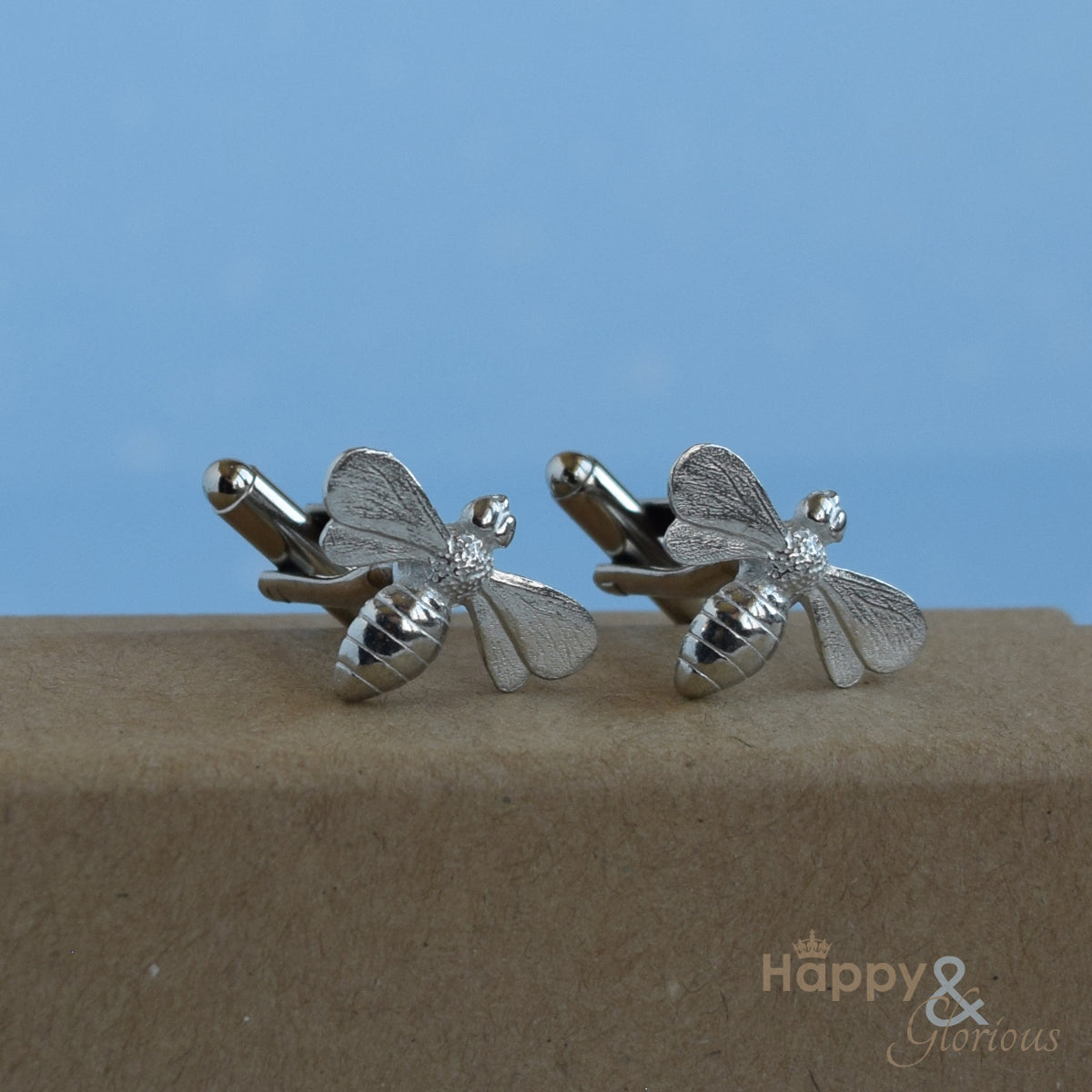 Pewter bee cufflinks - handmade by Lancaster & Gibbings