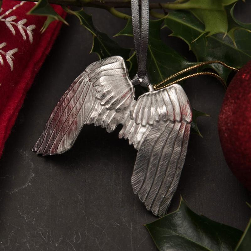 Pewter angel wings Christmas tree decoration - handmade by Lancaster & Gibbings