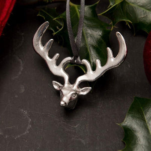 Pewter reindeer Christmas tree decoration - handmade by Lancaster & Gibbings