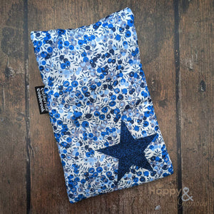 Liberty fabric mini hot water bottle with indigo blue glitter star
