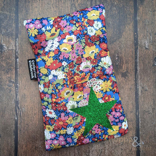 Liberty fabric mini hot water bottle with green glitter star
