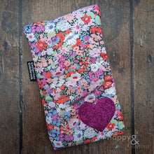 Liberty fabric mini hot water bottle with hot pink glitter heart