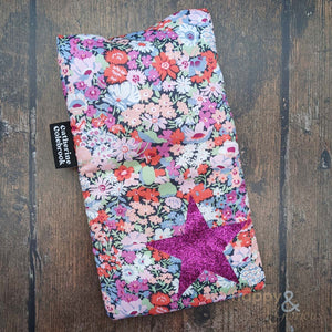 Liberty fabric mini hot water bottle with hot pink glitter star