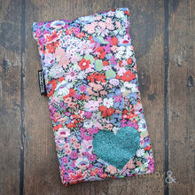 Liberty fabric mini hot water bottle with aqua glitter heart