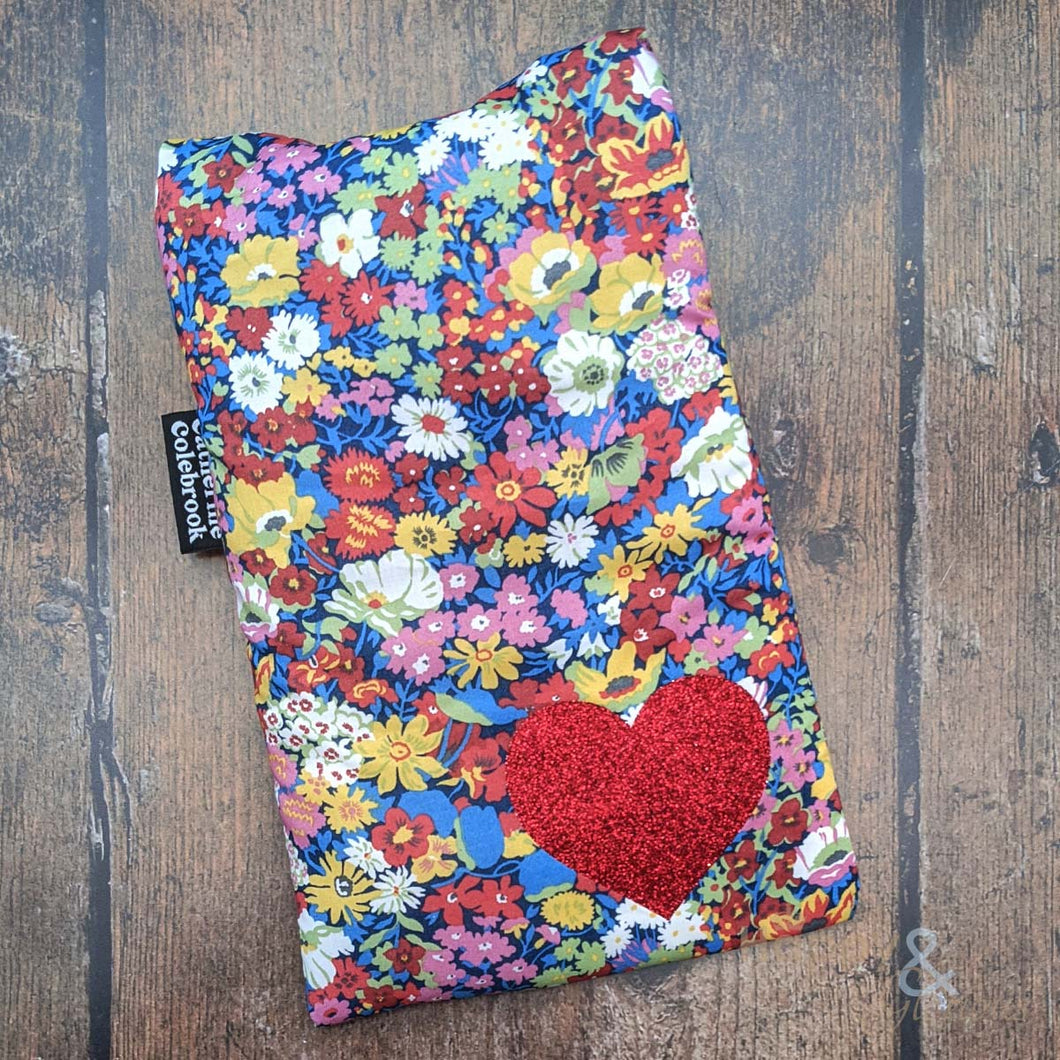 Liberty fabric mini hot water bottle with red glitter heart