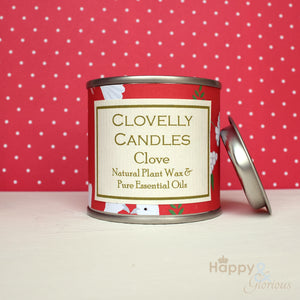 Clovelly Christmas clove plant wax candle in tin