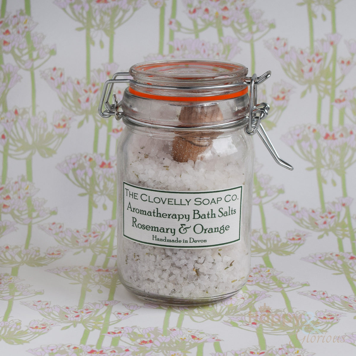 Rosemary & Orange aromatherapy bath salts with wooden scoop