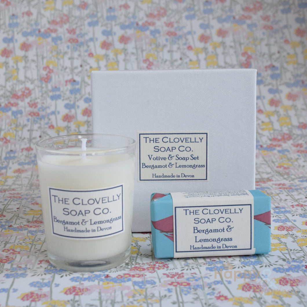 Bergamot & Lemongrass candle & guest soap gift set