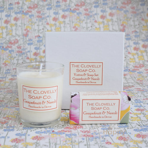 Grapefruit & Neroli candle & guest soap gift set