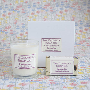 Lavender candle & guest soap gift set