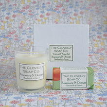 Rosemary & orange candle & guest soap gift set
