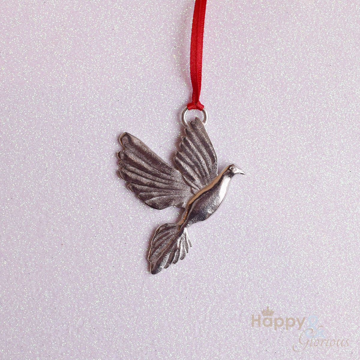 Pewter dove Christmas tree decoration - handmade by Lancaster & Gibbings