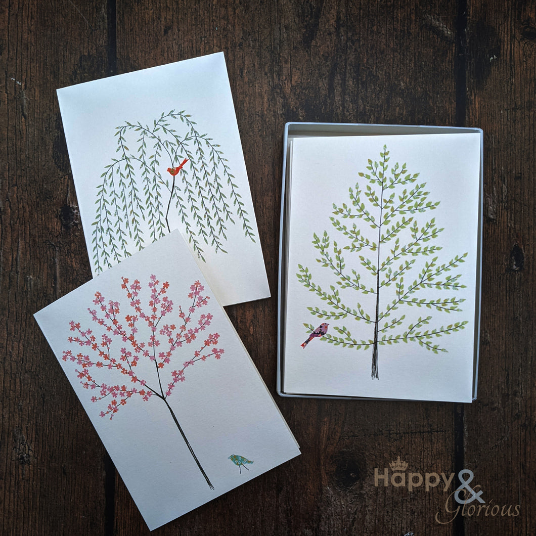 Birds & trees set of six notecards