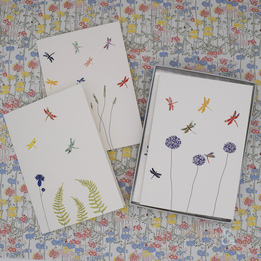 Dragonflies and flowers set of six notecards