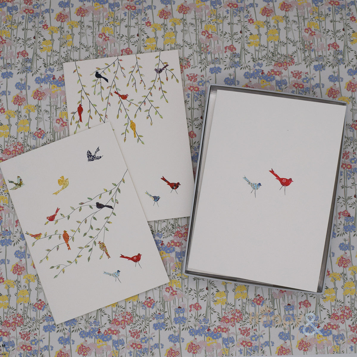 Birds and branches set of six notecards