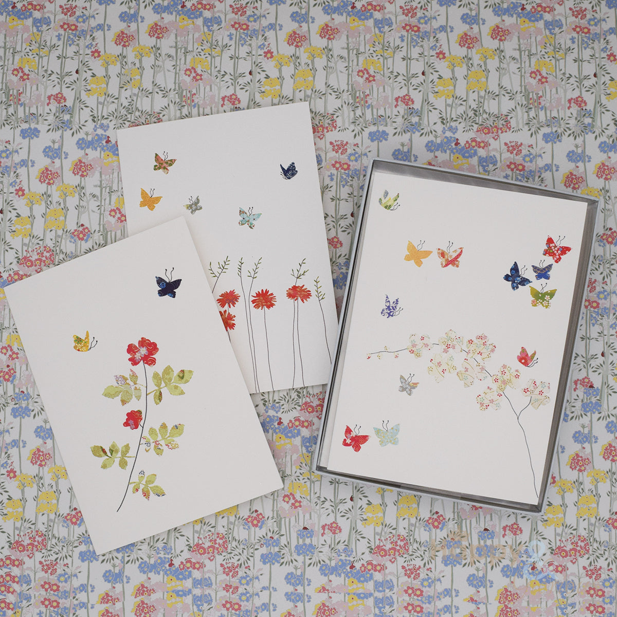 Butterflies and flowers set of six notecards