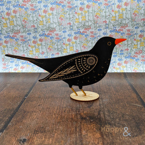 Wooden standing blackbird decoration
