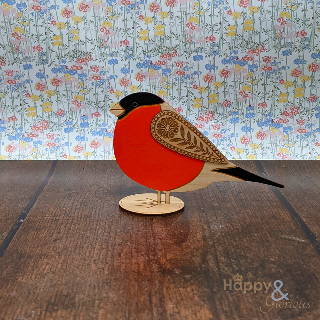 Wooden standing bullfinch decoration