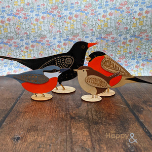 Wooden standing robin decoration