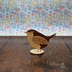 Wooden standing wren decoration