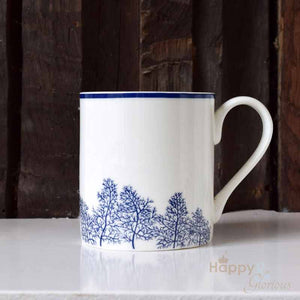 Navy blue & white fennel leaves silhouette fine china mug by Kate Tompsett