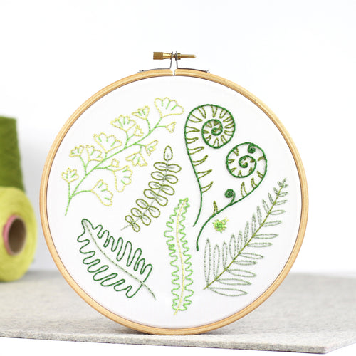 Forest Ferns contemporary embroidery craft kit