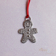 Pewter gingerbread man Christmas tree decoration - handmade by Lancaster & Gibbings