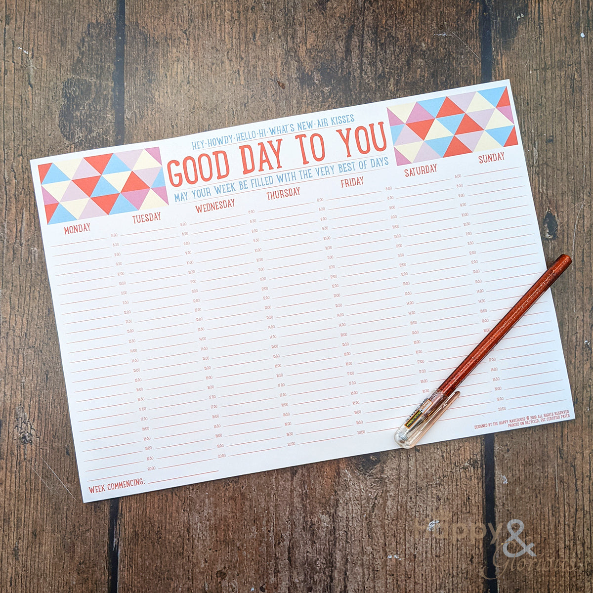 Good day to you! weekly A4 planner