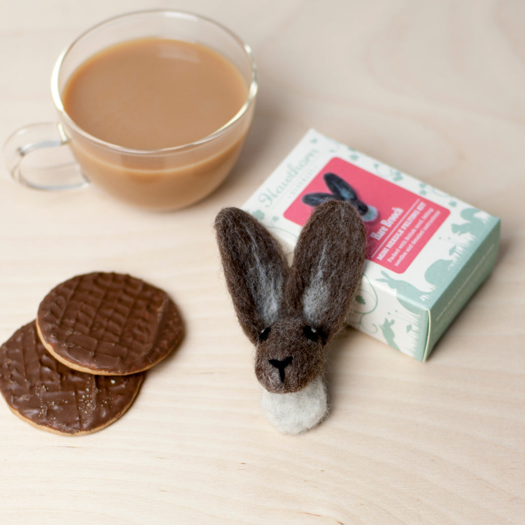 Hare brooch needle felting craft kit