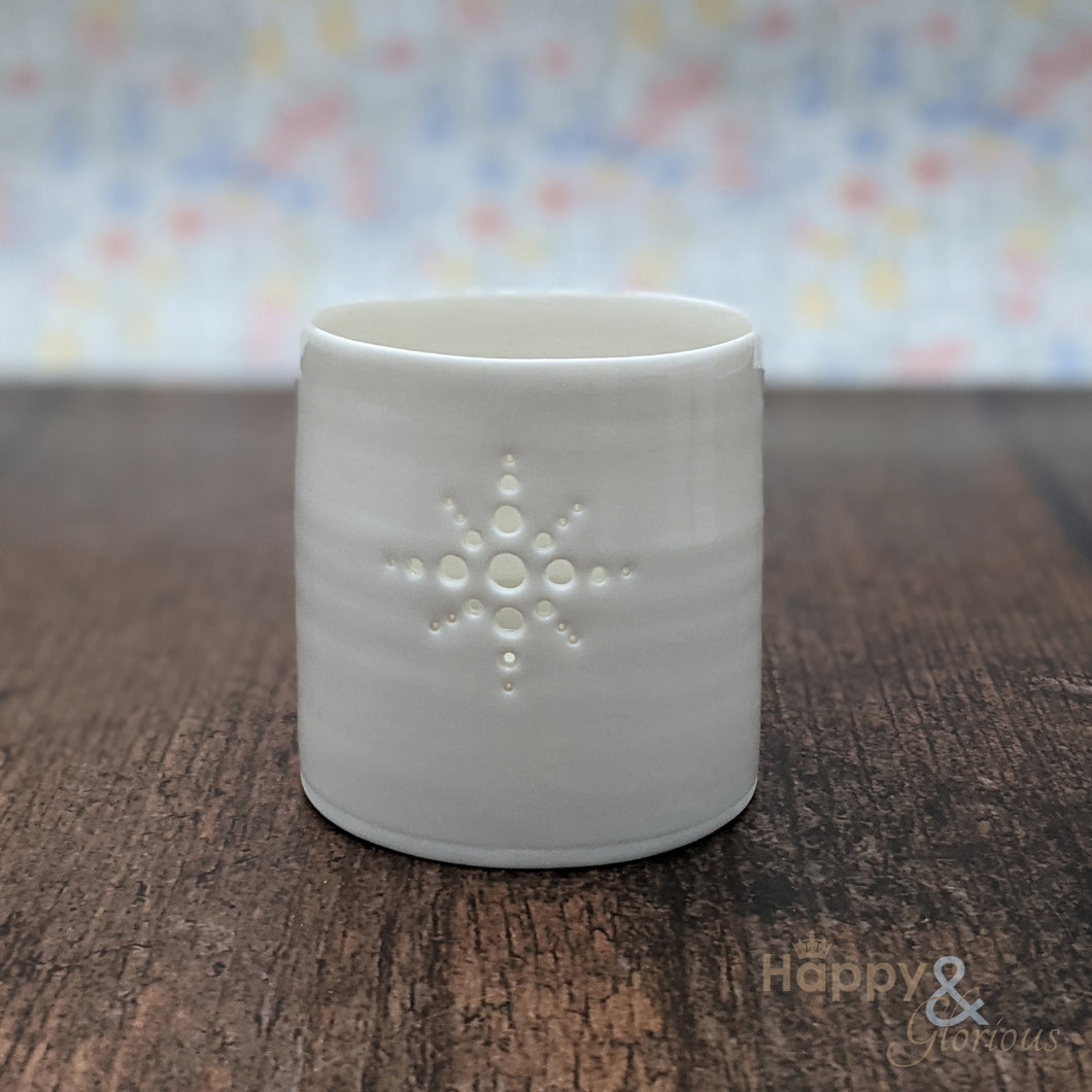Porcelain diamante tealight candle holder by Luna Lighting