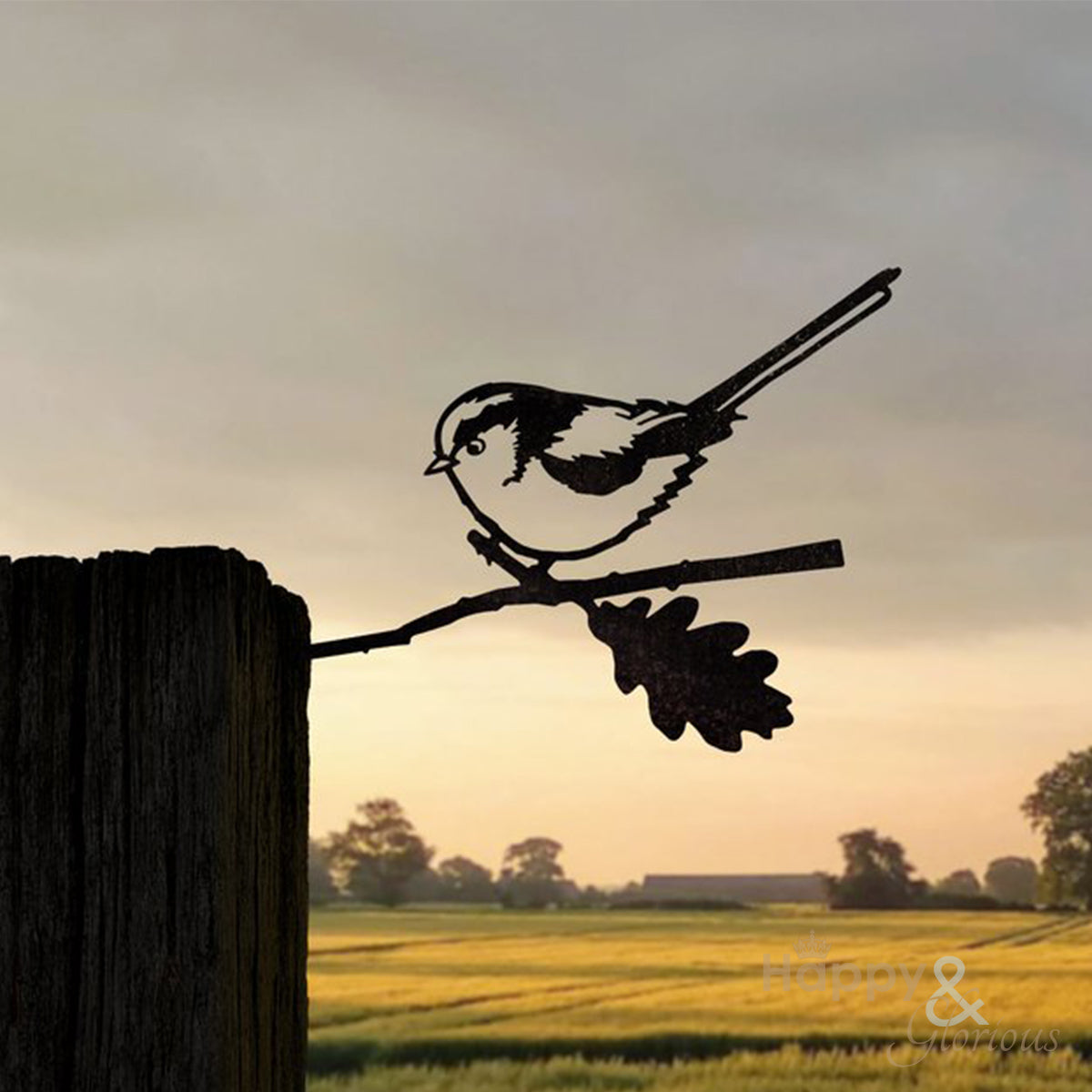Steel long tailed tit silhouette garden art