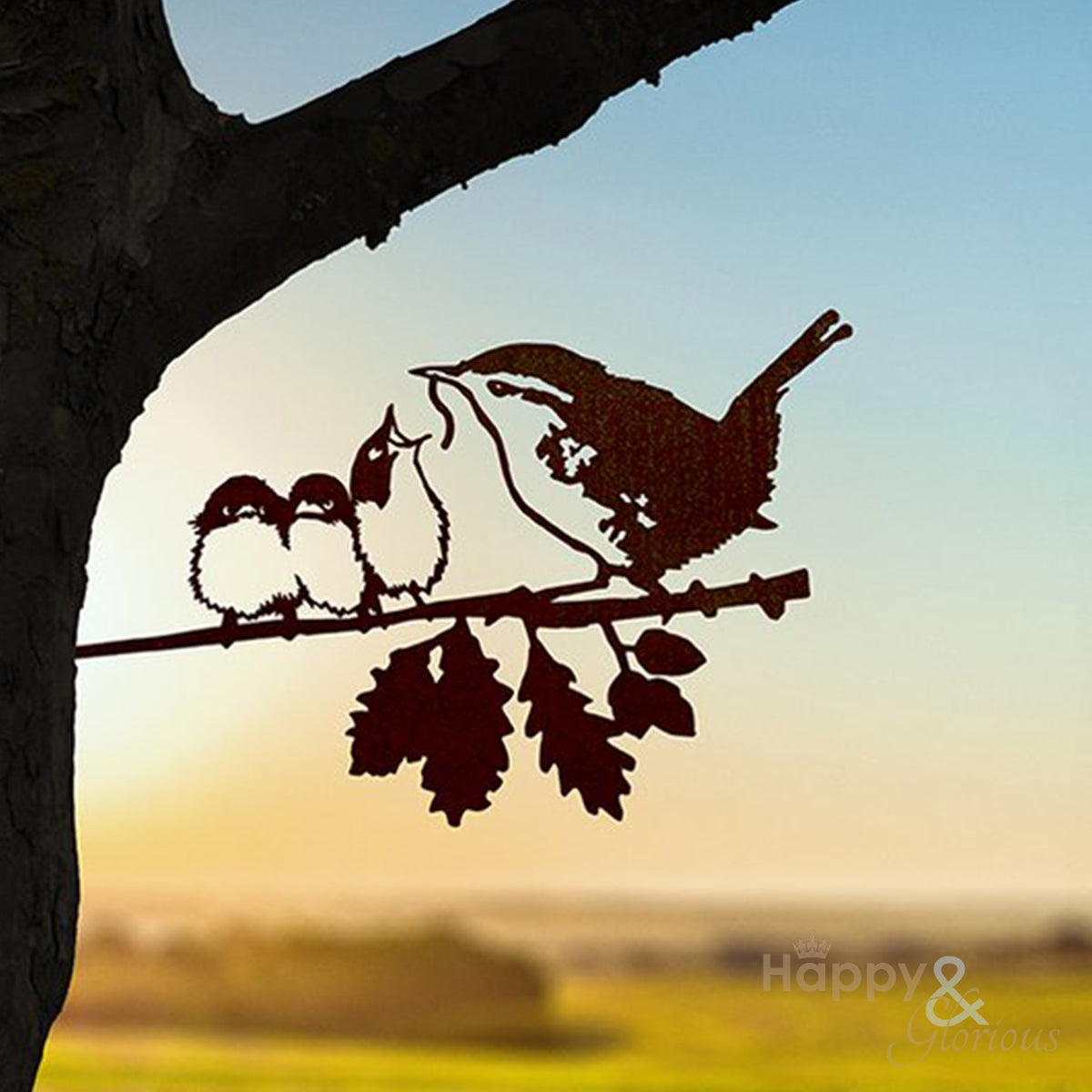 Steel wren & chicks silhouette garden art