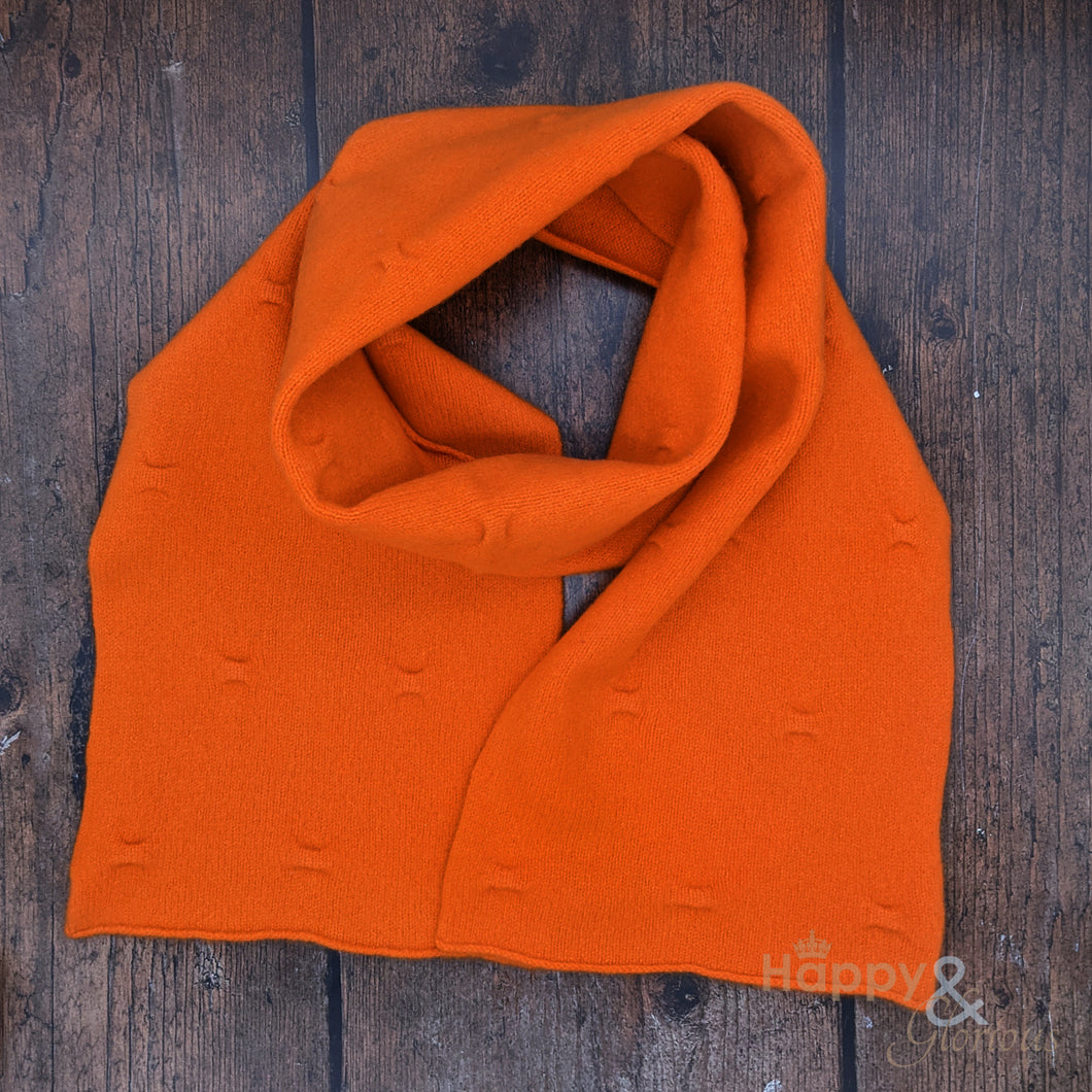 Orange felted merino wool scarf
