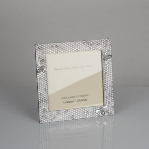 "Pewter 'honeycomb' 3.5"" square frame by Lancaster & Gibbings"