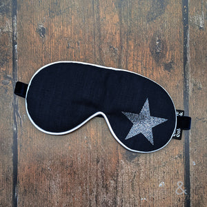 Lavender filled linen fabric eye mask with pewter glitter star