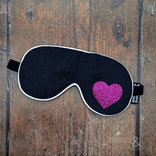 Lavender filled linen fabric eye mask with pink glitter heart
