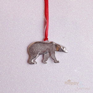 Pewter polar bear Christmas tree decoration - handmade by Lancaster & Gibbings