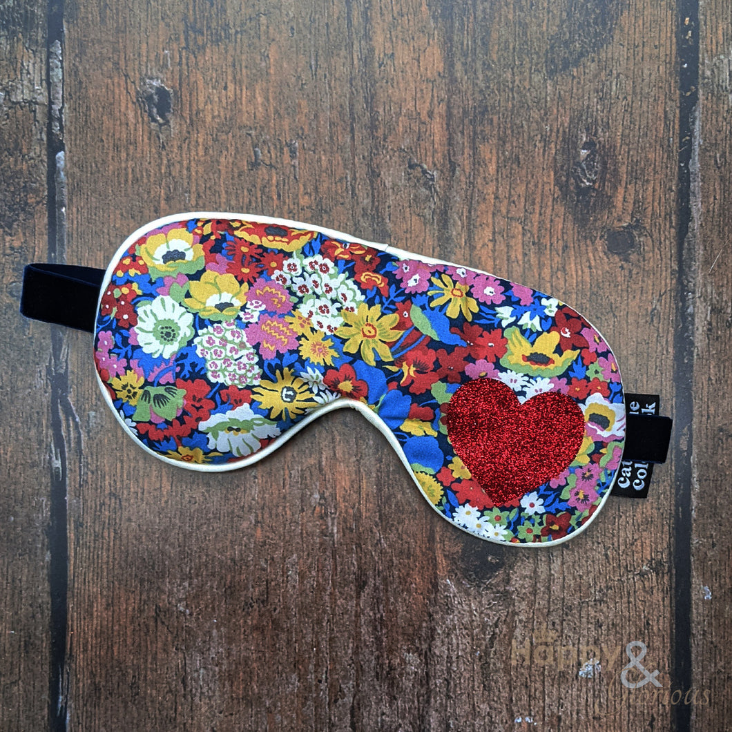 Lavender filled Liberty fabric eye mask with red glitter heart