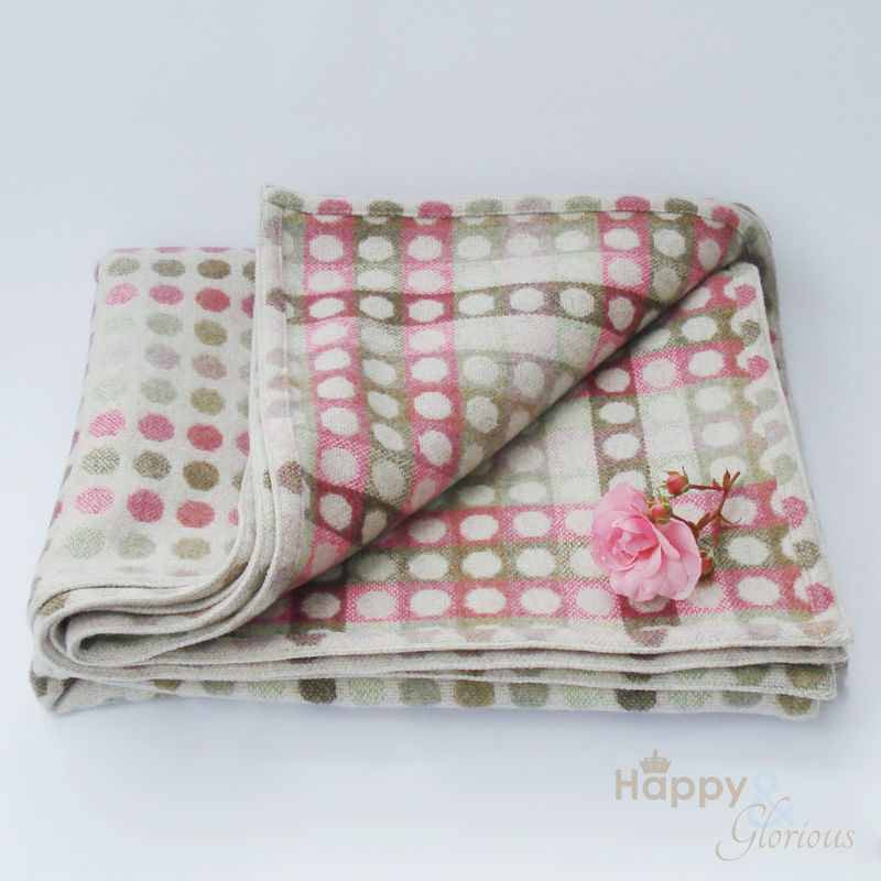 Rose pink 'Mondo' spot pure lambswool throw by Melin Tregwynt