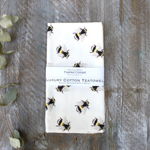 Bumblebees luxury cotton tea towel