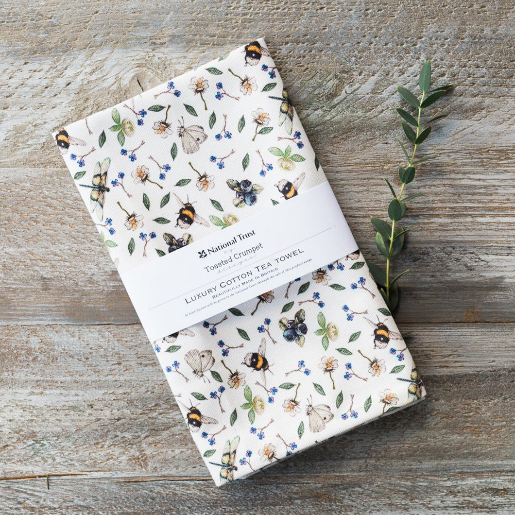 Wild flowers & bees luxury cotton tea towel