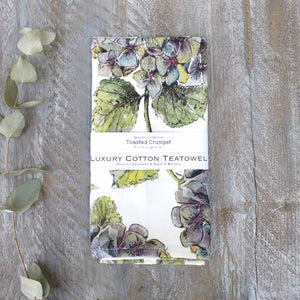 Hydrangeas luxury cotton tea towel