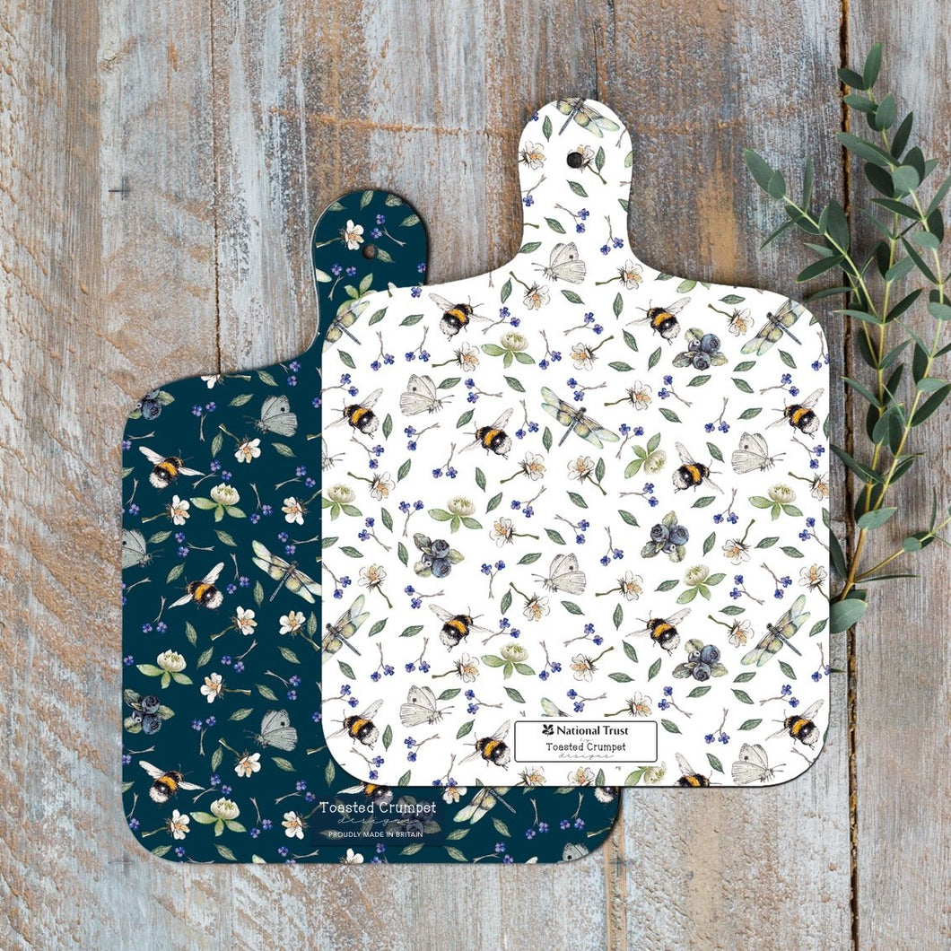 Bees & wild flowers reversible mini chopping board