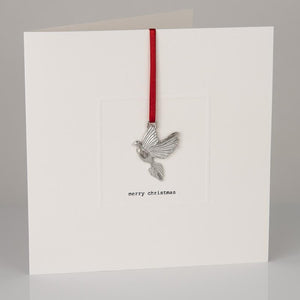 Pewter dove keepsake Christmas card