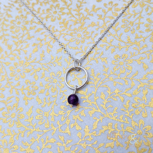 Sterling silver & amethyst hoop necklace